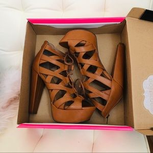Charlotte Russe Shoes - Lace up platform heels
